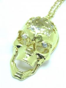 Gold Crystal Stone, Moving Jaw Skull Necklace